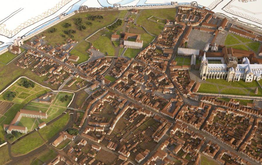 3D visualisation of medieval Canterbury, c1450