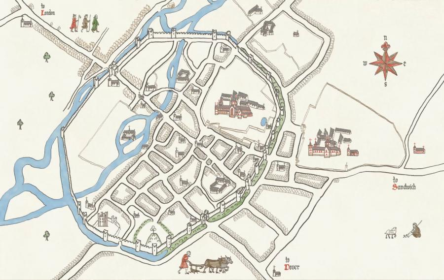 Map of medieval Canterbury